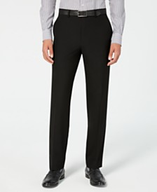 Chaps Men's Classic-Fit Stretch Wrinkle-Resistant Black Solid Suit Pants