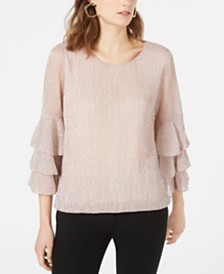 Alfani Metallic Layer Sleeve Blouse, Created for Macy's