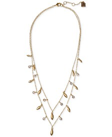 "Laundry by Shelli Segal Gold-Tone Crystal Two-Layer Statement Necklace, 20"" + 2"" extender"