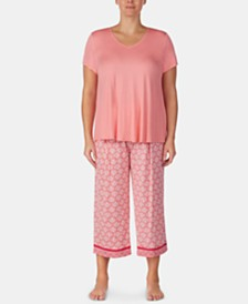 Ellen Tracy Solid Short-Sleeve Top and Printed Capri Pants Pajama Set