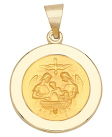 Baptism Medal Pendant in 14k Yellow Gold