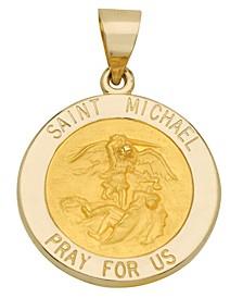 Saint Michael Medal Pendant in 14k Yellow Gold