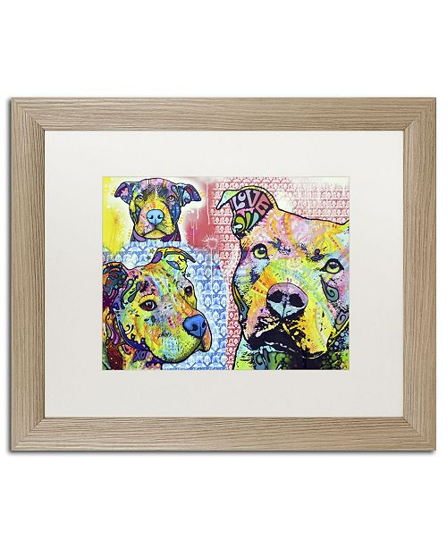 """Trademark Global Dean Russo 'Thoughtful Pit Bull Part 3' Matted Framed Art - 20"""" x 16"""" x 0.5"""""""