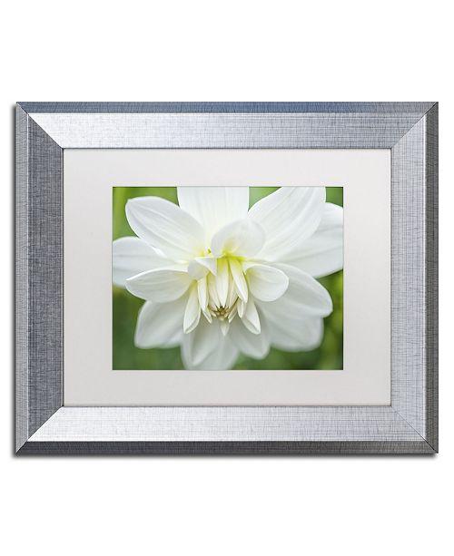 "Trademark Global Cora Niele 'White Dahlia' Matted Framed Art - 14"" x 11"" x 0.5"""