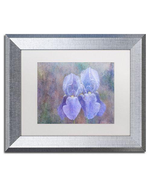 "Trademark Global Cora Niele 'Iris Blue Rhythm' Matted Framed Art - 14"" x 11"" x 0.5"""