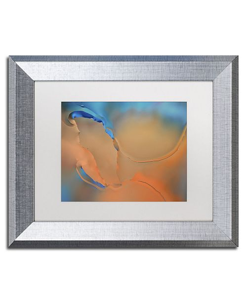 "Trademark Global Cora Niele 'Blue and Orange Flow' Matted Framed Art - 14"" x 11"" x 0.5"""