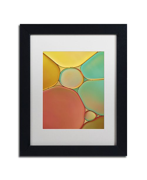 """Trademark Global Cora Niele 'Red Yellow and Green Drops' Matted Framed Art - 11"""" x 14"""" x 0.5"""""""