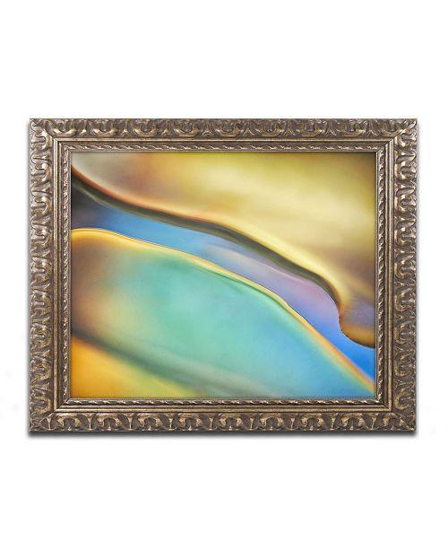 "Trademark Global Cora Niele 'Yellow and Aqua Blue Flow' Ornate Framed Art - 14"" x 11"" x 0.5"""