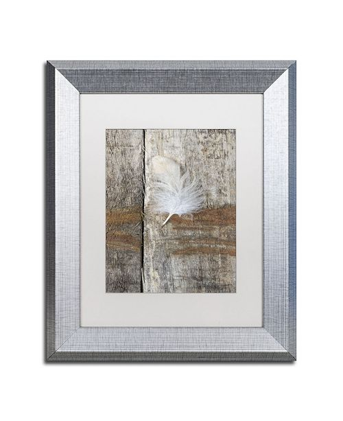 "Trademark Global Cora Niele 'Feather on Wood I' Matted Framed Art - 14"" x 11"" x 0.5"""