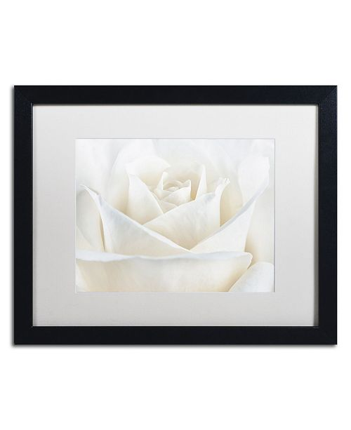 "Trademark Global Cora Niele 'Pure White Rose' Matted Framed Art - 16"" x 20"" x 0.5"""