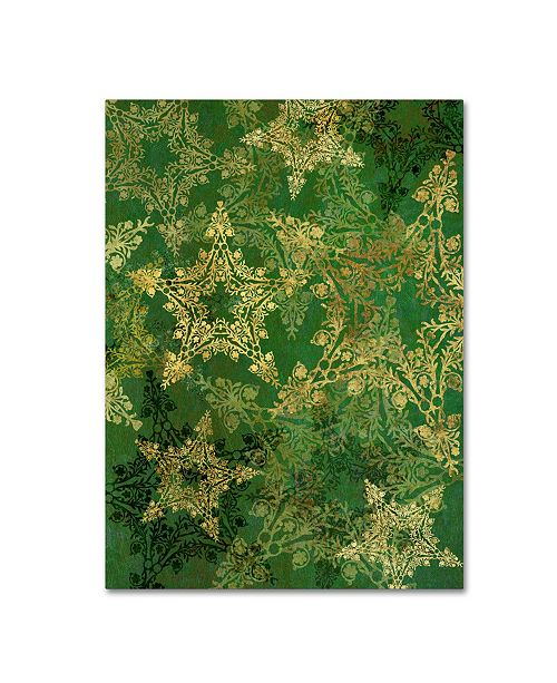 "Trademark Global Cora Niele 'Star Pattern Green and Gold' Canvas Art - 24"" x 18"" x 2"""