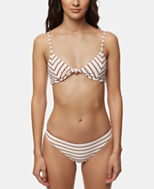 O'Neill Juniors' Striped Bikini Top & Cheeky Bottoms