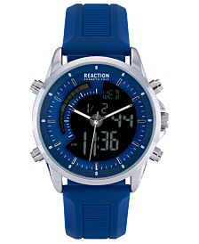 Kenneth Cole Reaction Men's Digital Blue Silicone Strap Watch 44mm