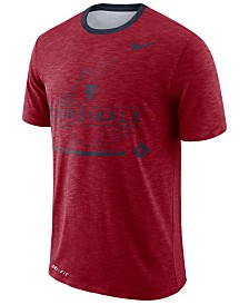 Nike Men's St. Louis Cardinals Dry Slub Stripe Logo T-Shirt