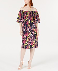 Trina Trina Turk Printed Convertible Floral A-Line Dress