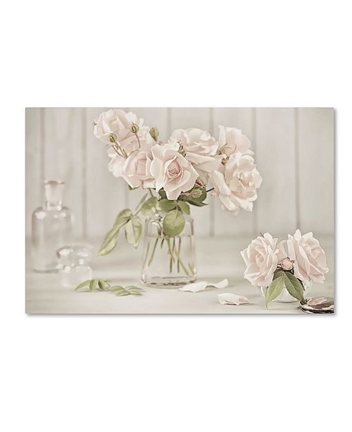 """Trademark Global Cora Niele 'Vintage Roses In Antique Glass' Canvas Art - 24"""" x 16"""" x 2"""""""