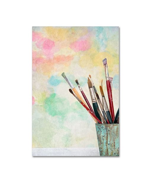 """Trademark Global Cora Niele 'Paint Brushes And Aquarel' Canvas Art - 19"""" x 12"""" x 2"""""""