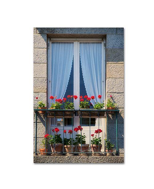 "Trademark Global Cora Niele 'Window With Red Geraniums' Canvas Art - 19"" x 12"" x 2"""