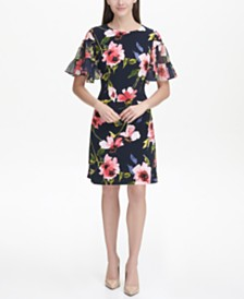 Tommy Hilfiger Jersey Corsage Floral A-line Dress