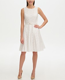 Tommy Hilfiger Eyelet Fit and Flare Dress