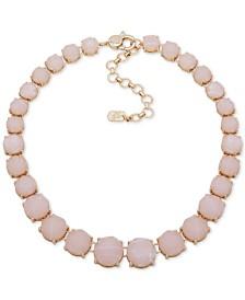 """Lauren Ralph Lauren Gold-Tone Rose Stone Collar Necklace, 16"""" + 3"""" extender"""