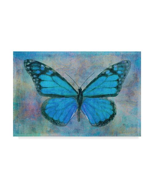 "Trademark Global Cora Niele 'Blue Butterfly Watercolor' Canvas Art - 24"" x 16"" x 2"""