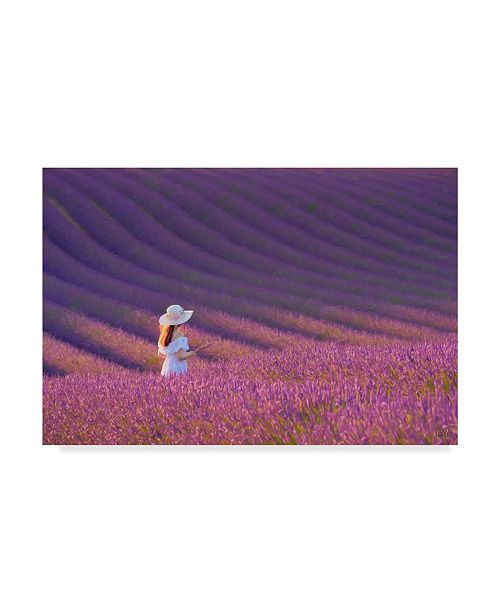 "Trademark Global Cora Niele 'Girl In Lavender Field' Canvas Art - 19"" x 12"" x 2"""