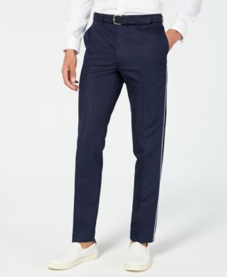 Men's Skinny-Fit Contrast Piped Suit Pants
