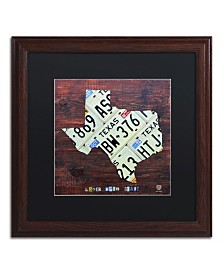 "Design Turnpike 'Texas License Plate Map Large' Matted Framed Art - 16"" x 16"" x 0.5"""