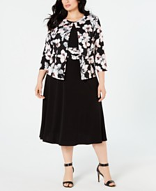 49be248ed8a Jessica Howard Plus Size Floral-Print Jacket   Dress