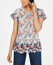 Style & Co Printed Ruffled Peasant Top, Created for Macy's