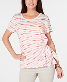 Style & Co Petite Brushstroke Bliss Tie-Side Top, Created for Macy's