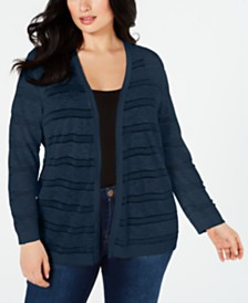 Charter Club Plus Size Sheer-Striped Cardigan, Created for Macy's
