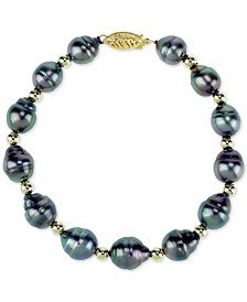 Cultured Baroque Tahitian Pearl (8-10mm) & Bead Bracelet in 14k Gold