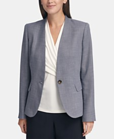 DKNY Petite One-Button Denim Blazer