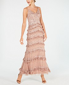 Allover-Sequin Tiered-Ruffle Gown