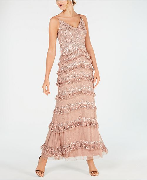 Adrianna Papell Allover-Sequin Tiered-Ruffle Gown