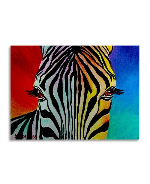 "Trademark Global DawgArt 'Zebra' Floating Brushed Aluminum Art - 16"" x 22"" x 1"""