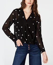 I.N.C. Petite Embroidered Dot Surplice Top, Created for Macy's