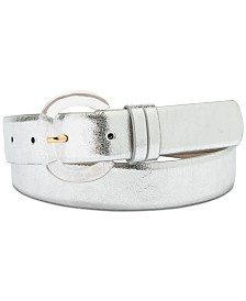 I.N.C. Clear Buckle Metallic Faux Leather Belt, Created for Macy's