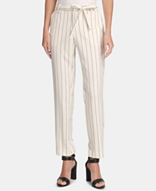 DKNY Belted Essex Pinstriped Ankle Pants