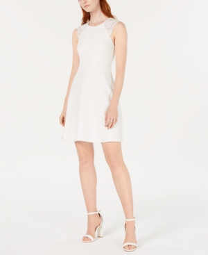 Image of 19 Cooper Lace-Trim Open-Back A-Line Dress