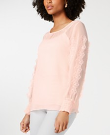 Alfani Floral Appliqué Top, Created for Macy's