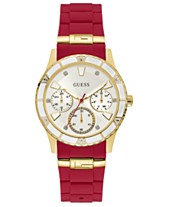 e054d2f39 GUESS Women's Valencia Red Silicone Strap Watch 38mm