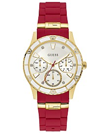 GUESS Women's Valencia Red Silicone Strap Watch 38mm