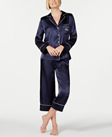 Linea Donatella Mom-Embroidered Top and Ankle Pants Pajama Set