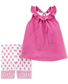 Carter's Baby Girls 2-Pc. Ruffled Top & Printed Shorts Set