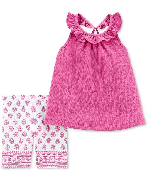 Carter's Baby Girls 2-Pc. Ruffled Top & Printed Shorts Set