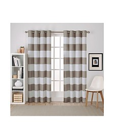 Exclusive Home Surfside Cabana Stripe Cotton Grommet Top Curtain Panel Pair