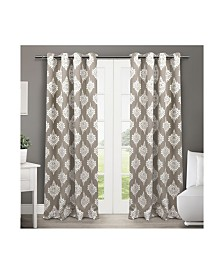Exclusive Home Medallion Blackout Grommet Top Curtain Panel Pair